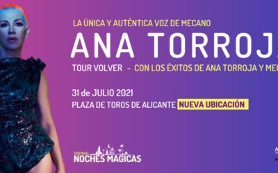 Concierto de Ana Torroja el 31 de julio: cambio de ubicación